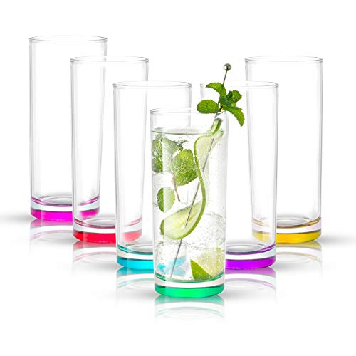 JoyJolt Highball Glasses – Set of 6 Colored Drinking Glasses – Glassware Set for Mixed Drinks, Cocktails, or Water…