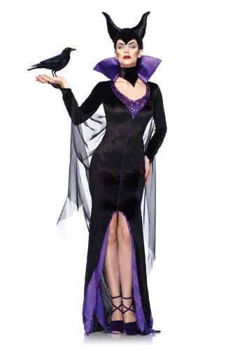 Leg Avenue Women's Disney 3Pc. Maleficent Costume Dress and Head Piece, Black, Medium (Disney Villain Costume)
