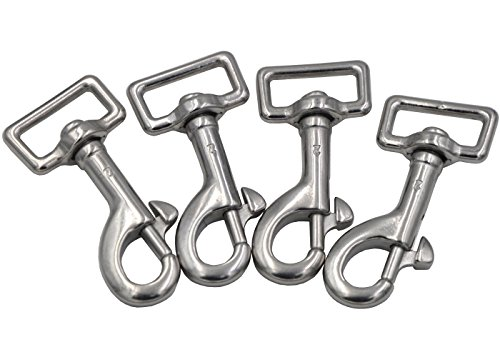 16' Snap (Okones Pack of 4Pcs,11/16''(16mm)Inner Width,2-23/64''(60mm)Overall Length,Stainless Steel Swivel Eye Lobster Clasp Bolt Snap Hook(11/16''Inner×2-23/64'' Square Eye, BRA0080))