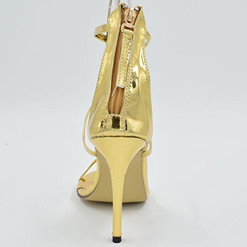 Azbro Mujer Elegante Estilete Tacón Alto Color Sólido Correa Tobillo Dorado