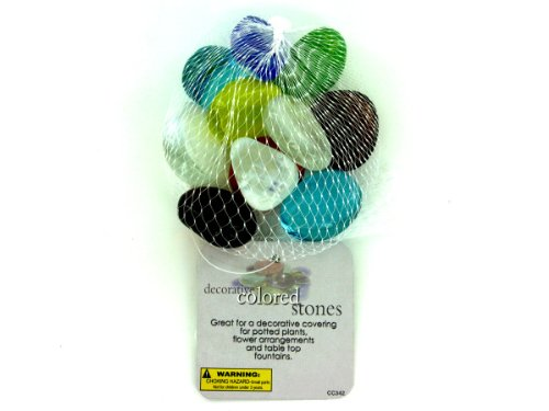 Decorative Colored Stones, Mesh Bag In Assorted Colors - Case of 96