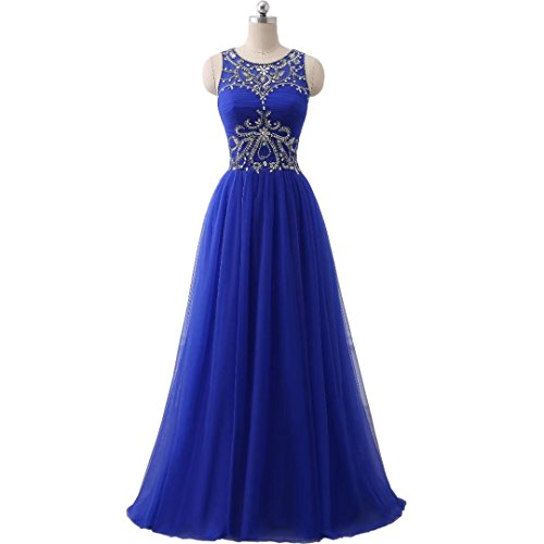 Chady Royal Blue Sexy Backless Beaded Crystal Long Prom Dress 2017 Long Sleevesless Prom Party Gowns Formal Evening Dresses by Chady