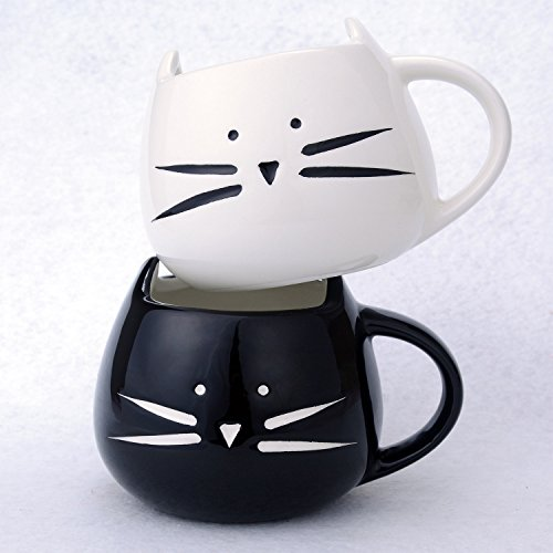 2 Pack Ilyever Funny Cute Little Cat Coffee Tea Milk Ceramic Gift Mug Cup White Black