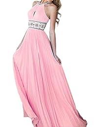 Women Elegant Halter Chiffon Fit&flared Swing Pleated Maxi Evening Dress