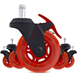 STEALTHO Replacement Gamers Chair Caster Wheels Set of 5 - Protect Your Floor - Quick & Quiet Rolling Over The Cables - No More Chair Mat Needed - with Brakes - Red Polyurethane - (IKEA steam, 10)