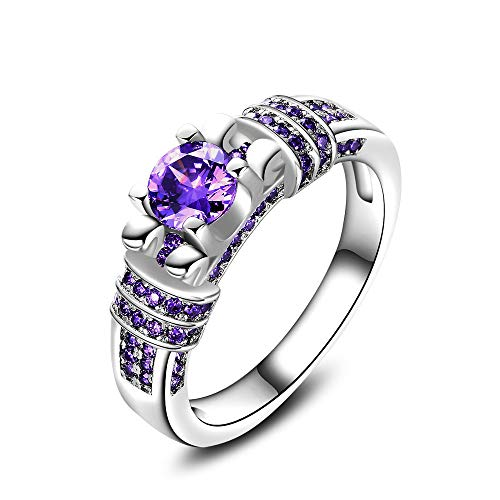- MILIMIEYIK Crystal Rings for Women Size 6, Silver Gold Plated Cz Square Wedding Fashion Jewelry Purple Zircon Ring