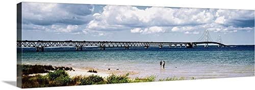 Bridge Across a Lake Mackinac Bridge Mackinaw City Michigan Canvas Wall Art Print