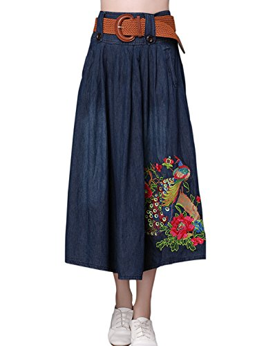(Tanming Women's Peacock Embroidered A-Line Long Denim Jean Skirt with Belt (Large, Blue))