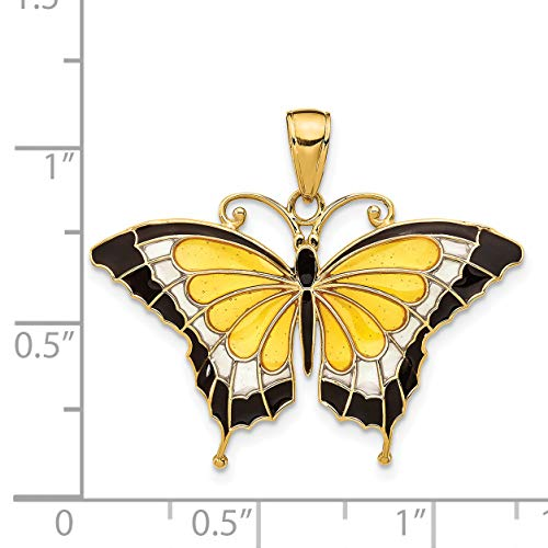 14k Yellow Gold Yellow Stained Wings Butterfly Pendant from Jewelry Pot