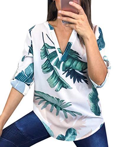 V Chemisiers Casual Manches Automne Printemps Tops Shirts Chemises Fashion Hauts Col Longues Blouse Femmes Tee et Imprime Blanc2 5Y8PnU8O