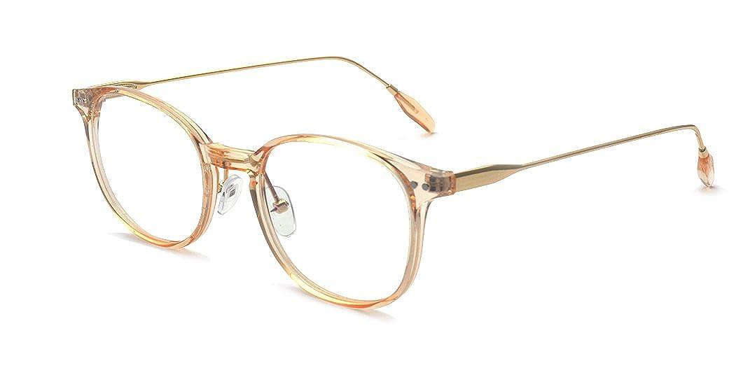 Kalens Vintage Retro Metal Temple Horn Rimmed Clear Lens Prescription Glasses