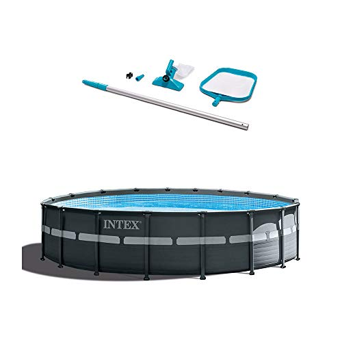 (Intex Ultra Xtra 18ft x 18ft x 52in Round Steel Frame Above Ground Swimming Pool Set and Cleaning Kit with Sand Filter Pump, Pool Ladder, Ground Cloth, and Pool Cover)