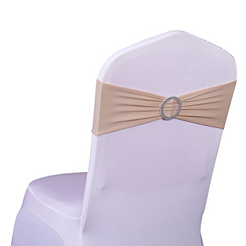 100PCS Stretch Wedding Chair Bands With Buckle Lycra Slider Sashes Bow Decorations 25 Colors (champagne) …