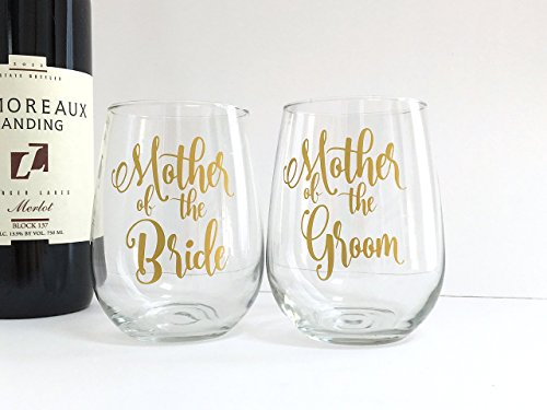 Mother of the Bride and Groom Wine Glasses - Wedding - Gift for In Laws - Set of 2 (Wine Moment Glass)