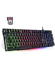 Empire Gaming K300 PC Keyboard QWERTY– 105 semi-mechanische toetsen, waaronder 19 anti-ghosting toetsen 12 multimedia sneltoetsen LED RGB Back-Lighting