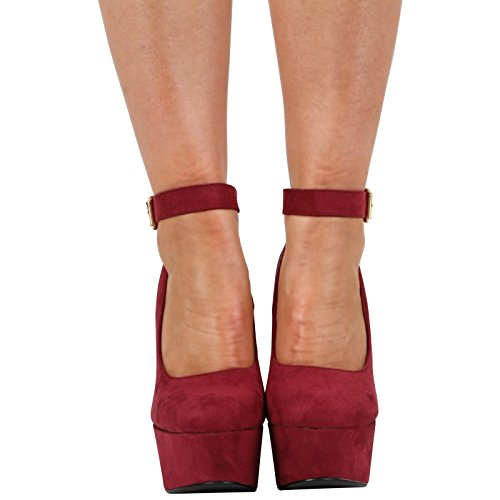 Suede Ladies 3 HIGH Chunky Burgundy CORE Court Size COLLECTION 7 Shoes Heel New Womens Platform Ankle Strap S4tAUqw
