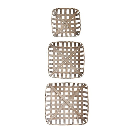 Creative Co-Op DA8528 Set of 3 Square Reproduction Tobacco  Baskets (Tobacco Large Basket)