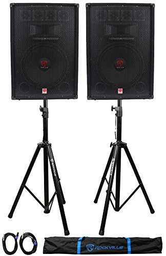 "(2) Rockville RSG15.4 15"" 1500w Passive PA Speakers+2)Stands+2)Cables+Carry Case by Rockville"