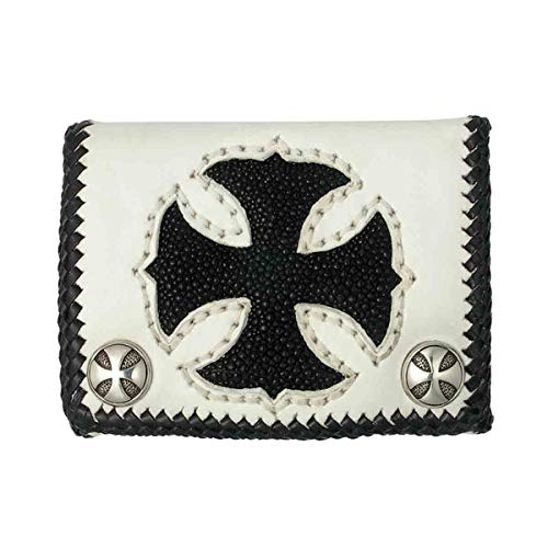 (Short White Cowhide Leather Trifold Wallet w/Black Stingray Cross)