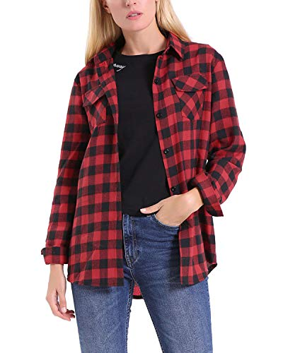 KENANCY Women's Long Sleeve Plaid Flannel Shirt Boyfriend Classic Red Button Down Shirt