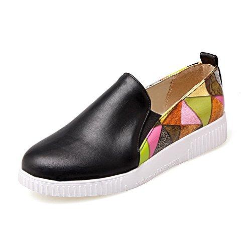 Balamasa Dames Kleuraanpassing Dikke Lage Hak Ronde Neus Aantrekbare Geïmiteerde Lederen Pumps-schoenen Zwart