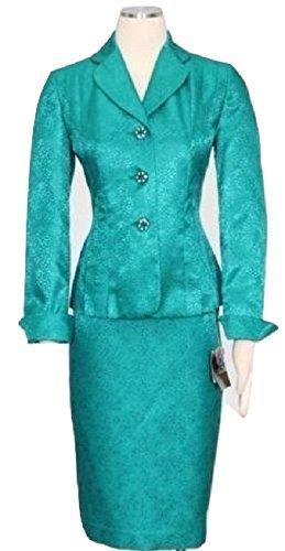 Kasper Womens Plus The Golden Age Jacquard 2PC Skirt Suit Green 18