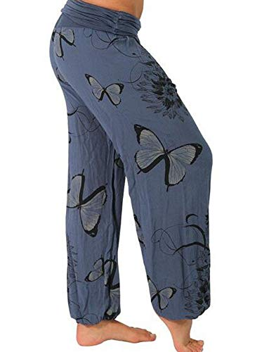 Huateng Femmes Bleu Imprimer Foncé Yoga Fitness Pantalons Papillon Occasionnels Loisirs RUwnxqRZC