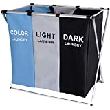 TenQuest Foldable Laundry Bag Dirty Clothes Storage Basket with 2 Sections Brown