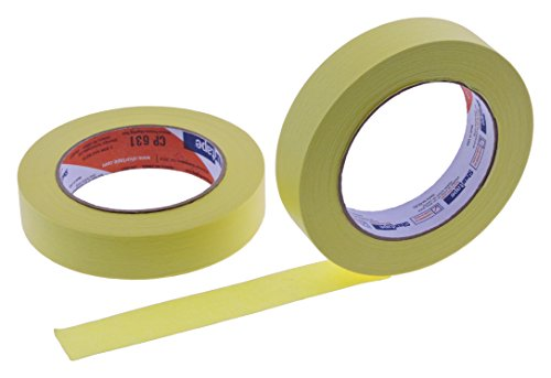 """2pk of 1"""" in x 60yd Yellow Masking Tape Extra Sticky PRO Grade High Stick Special Project Painters Tape Painting Trim Arts Crafts School Home Office 21 Days 24MM x 55M .94 inch"""
