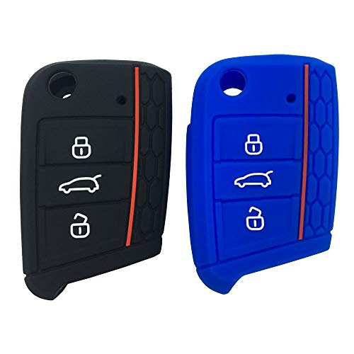 (Silicone Cover for VW Volkswagen Golf 7/GTI 7/Golf R R20/MK7 MKVII Keyless Entry Remote Key Fob Skin Protective Rubber Key Jacket Protector Case (1Black+1Blue))