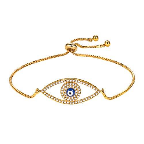 (Suplight Evil Eye Bracelet for Women/Teen Girls,Cubic Zirconia with Gold Plated Adjustable Box Evil Eye Bolo Bracelet)