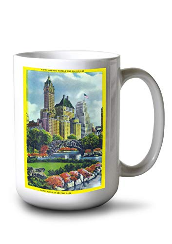 Lantern Press NYC, New York - Central Park Plaza View of 5th Ave Hotels and Bldgs (15oz White Ceramic Mug) - Park New York Central Hotel