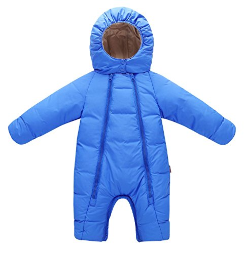 Aomige Kids Toddler Baby Winter Thicken Bunting Romper Snowsuit Pram Bunting Double Zipper Long Sleeve Jumpsuit For Girls and Boys(0-18 (Infant Down Bunting)