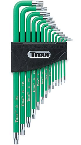 Titan Tools 12715 Extra-Long Arm Tamper Resistant Star Key Set - 13 (13 Piece Torx Tamper)