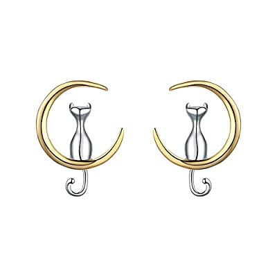 Nice WRISTCHIE Jewelry S925 Sterling Silver Cat On Moon Earing For cat lovers