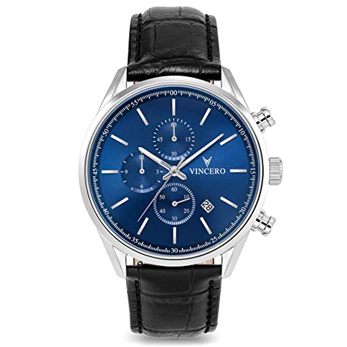 (Vincero Chrono S Blue Dial Leather Strap Men's Watch BLUBLA0S04)