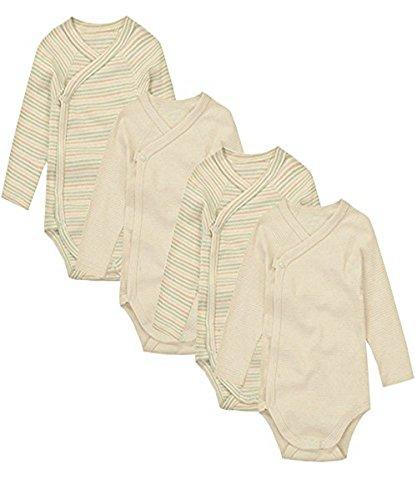 Baby Kimono Onesies Long Sleeve Color Beige 4 Pack (Organic L/s Bodysuit)