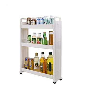 Baoyouni Slim Slide Out Rolling Storage Cart Tower, Narrow Space Organizer  Rack With Wheels For