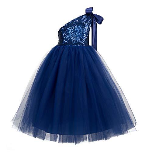 ekidsbridal One-Shoulder Sequin Tutu Flower Girl Dress Wedding Pageant Dresses Ball Gown Tutu Dresses 182 6 Navy Blue