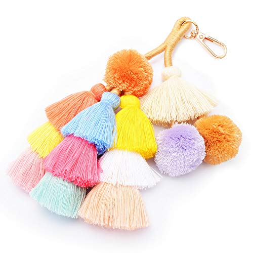 (Colorful Boho Pom Pom Tassel Bag Charm Key Chain (G01)