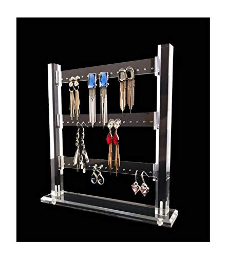 Earring Organizer Acrylic Modern Stand Holder Premium Grade Material 48 Holes Home Storage Store Store Gallery Fine Display (Clear)