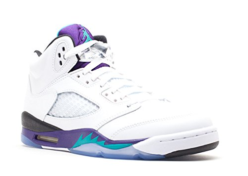 Air Jordan 5 Retro (GS) Big Kids Shoes White/New Emerald-Grape Ice-Black 440888-108 (5 M US) (Black Jordan Retro Air 5 Grape)