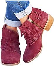 Women's Fringe Short Ankle Booties Zip Up Flat Comfy Low Heel Combat Style Army Booties Outdoor Western Sh