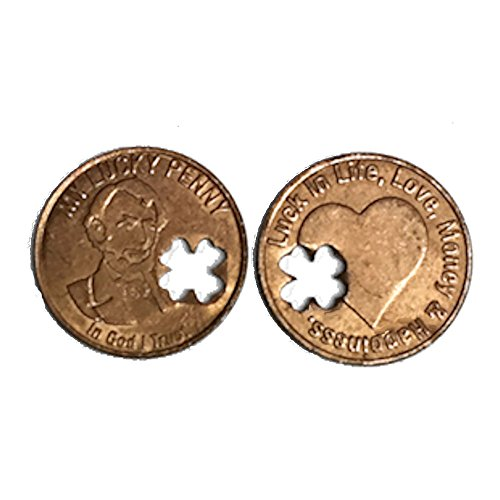 Good Luck Penny, 4 Leaf Clover Life, Love, Money, Happiness (Pkg of 50)