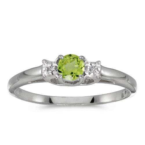0.25 Carat ctw 10k Gold Round Green Peridot & Diamond Bypass Halo Engagement Anniversary Fashion Ring - White-gold, Size (0.25 Ct Peridot Ring)