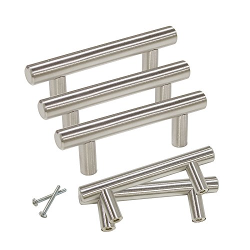 Gobrico GB201HSS64 Satin Nickle 64mm Cabinet Pull Handle for Furniture Drawer Cupboard Dresser T-bar 10 Pack