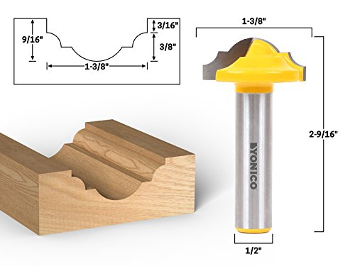 Classical Panel - Yonico 13025 1-3/8-Inch Dia. Classical Roman Ogee Panel CNC Cabinet Door Rail & Stile Router Bit 1/2-Inch Shank