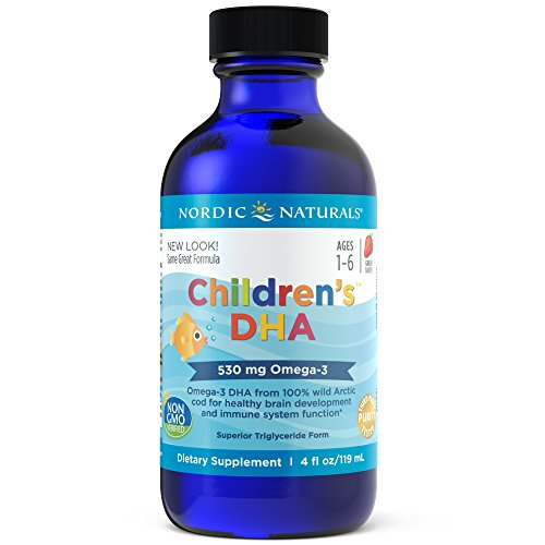 Nordic Naturals Children's DHA Liquid - Strawberry Flavored Fish Oil Supplement Rich In Omega 3 DHA, Supports Heart Health, Brain Development For Children During Critical Years 4 Ounce