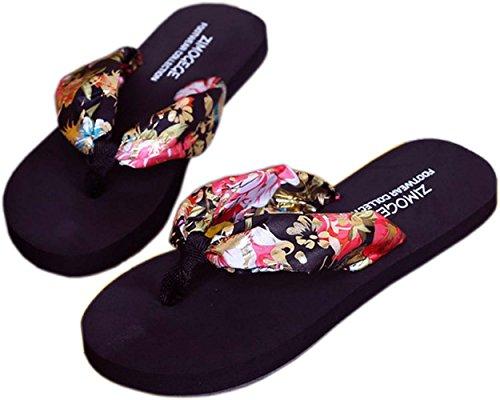 Bettyhome Dames Meisjes Damesmode Satijnen Riemen Comfortabele Casual Platte Sandalen Strand Slippers Zwarte Pantoffels