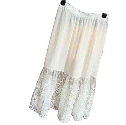 EULAGPRE Femmes Jupe En Dentelle Slip Extender Longueur Genou Jupe Florale Petticoat Jupon 2white